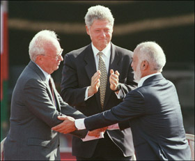 Late King Hussein and Itzhak Rabin after signing the Peace Declaration